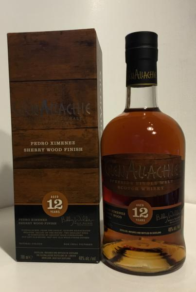The GlenAllachie 12years Pedro Ximenez Sherry Wood Finish